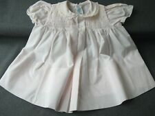 Vintage cute collar hand embroidery tucked rose fabric baby dress for dolls