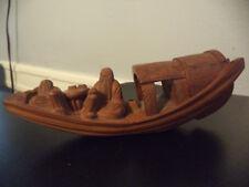 Antique Vintage Chinese Hand Carved Box Wood Folk Art Boat Sculpture Figurine!