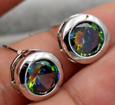 18K White Gold Filled - 9MM Round MYSTIC Rainbow Topaz Hollow 2-Layer Earrings