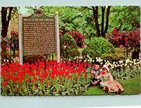 Holland MI Tulip Time Dutch in Michigan Sign Children Postcard used (17093)