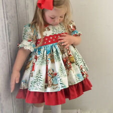 Christmas Toddler Kid Baby Girl Xmas Festival Flared Party Santa Swing Dress Acc