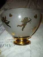 Valentines Candy Bowl With Gold Accents