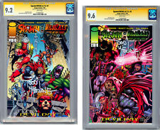 SPAWN/WILDCATS #1-2 CGC-SS 9.2-9.6 ALAN MOORE STORY *SIGNED TODD MCFARLANE* 1996