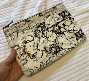 Marble Look Leather Clutch Bag