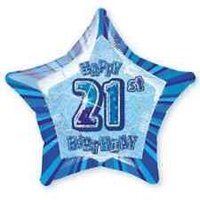 """21ST BIRTHDAY CELEBRATIONS""   21st Glitz Blue 20"" Foil Balloon!"