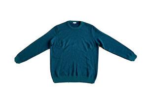Jaeger Mens Wool Blend Pullover Sweater Green Blue Size XL RRP £69