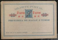 Mint Portuguese Macao & Timor Postal Stationary Postcard Provisional Overprints