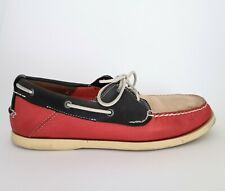Mens Timberland Red Navy Cream Tricolour Leather Boat Shoes UK Size 9
