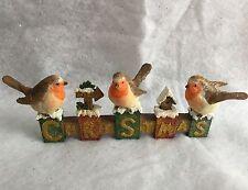 23cm Vintage Chic Robin Christmas Sign Glitter Gisela Graham Mantel Ornament
