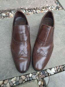 Mens AZOR Brown Leather Slip On Shoes - Uk 8 / Eu 42