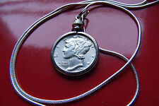 "900 Silver Mercury Dime Pendant on a 20"" 18k White Gold Filled Round Woven Chain"