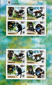 Angola 2011 -Monkeys-1 M/Sh.2x4 Stamps-Imperfored, MNH**,AG 26A