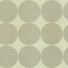Wallpaper High End Designer Real Grasscloth Modern Gray Taupe Circles on Cream