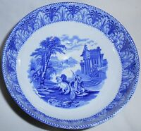 Antique CAULDON POTTERY Flow Blue HORSE & CHARIOT PATTERN Serving Bowl ENGLAND