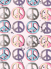 New Perry Ellis Pink Peace Sign Comforter Sham & Sheet Set Twin Bed 5 Piece