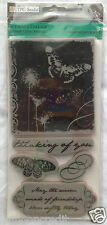 """TPC Studio BUTTERFLY COLLAGE Rubber Cling Stamps - 4"""" x 8""""  Brand New"""