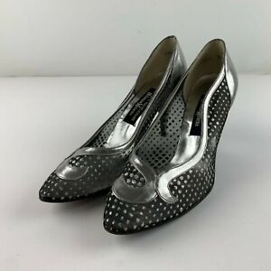 Vintage Stuart Weitzman Neiman Marcus Size 9 Sheer Knit Heel Mother Bride Shoe