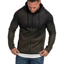 Mens Athletic Hoodie Sport Hooded Jacket Shirts Gym Workout Top Casual Coat