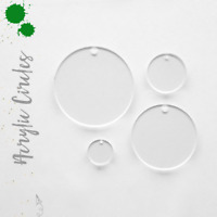 Acrylic Circle Keychain Blanks (select size) Pack25-50.100 Hardware Included