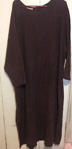J. Jill Hemp Maxi  Dress 100% Hemp With Pockets Women's Size 4x Purple VGC
