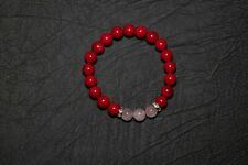 Handmade 8mm Red Coral Gemstone Round Beads Stretch Bracelet, Made in Australia