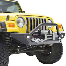 Fit 1987-2006 Jeep Wrangler TJ YJ Black Front Bumper w/ LED Lights&Winch Plate