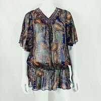 Christelle S / M Purple Mix Paisley Pattern Sheer Top Elastic Gathered Waist