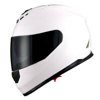 1Storm DOT Motorcycle Full Face Helmet Dual Lens Sun Visor Monster Glossy White