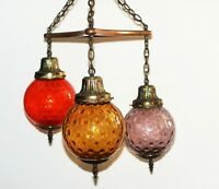 Beautiful Vintage Mid Century Modern Retro Style Multicolor Hanging Glass Light