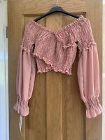 Baby Pink Bardot Puff Sleeve Top Size One Size fits 8-12 FREE P&P