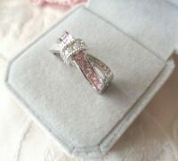 Vintage Jewellery White Gold Ring with Pink Sapphires Antique Deco Jewelry sz R