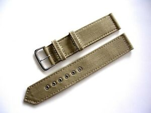 NATO ® 2pc WWII Canvas Military army watch band Field strap Chrome IW SUISSE USA