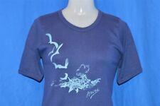 vintage 70s Hawaii Sea Gulls Blue Bar Champion Women'S Rib Knit t-shirt L