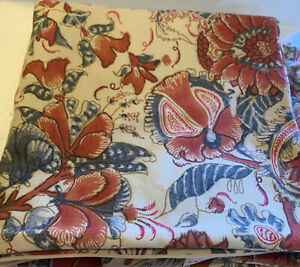 Pottery Barn Rust Blue Jacobean Floral Print Pillow Covers Square Boho 2