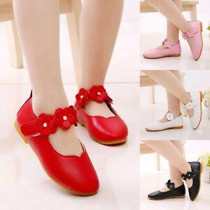 Kids Baby Girls Solid Flower Single Soft Dance Princess Shoes Size UK 1.5-13.5