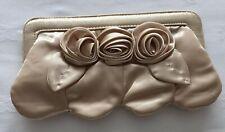 * BNWOT * Gold Silk Ladies Clutch Shoulder Chain Strap Flower Detail Bag