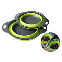 2 x Collapsible Colanders (Strainers) Set kitchen Strainer Space-Saver Fold G8M5