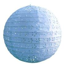 """8"""" Round Eyelet Lace Look Paper Lantern - Artic Blue"""