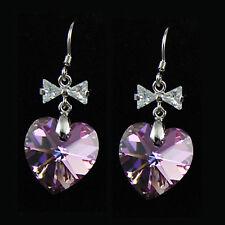 AB Moonlight Purple Heart Crystal 925 Silver Earrings made wit Swarovski Element