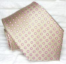 Cravatta pois marrone e rosa 100% seta Nuova Made in Italy handmade