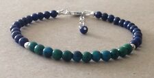 Lapis Lazuli+CHRYSOCOLLA Gemstone, Sterling Silver, Beaded Friendship Bracelet