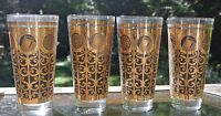 4Libbey Mid Century Black/Gold Highball Glasses Rock of Gibraltar Prudential16oz