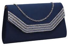 Womens Harper Diamante Faux Suede Envelope Ladies Evening Party Prom Clutch Bag