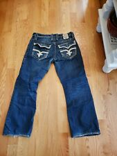 ROCK REVIVAL RICHIE STRAIGHT DESIGNER MEN'S JEANS SIZE 34x32 missing buttons