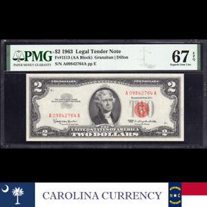 1963 $2 LEGAL TENDER *RED SEAL* PMG 67 EPQ Fr 1513 A09842764A