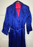 VTG Saybury Womens 40s Blue and Hot Pink Quilted Robe Sz S/M