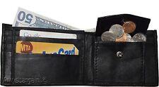 Men's Bifold Black Wallet Genuine Leather 6 Credit card Coin purse 2 Billfold BN