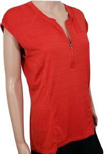 Athleta Large Top Coral Red 1/4 Zip Cap Sleeve Back Zip Pocket Hi Lowe Hem