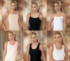 2er Pack Damen Unterhemd Basic Damentop Shirt Baumwolle Schwarz Weiß Beige Neu
