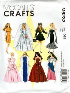"""McCall's Crafts Sewing Pattern M6232 Dresses Coat for 11½"""" Doll"""